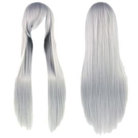 Pruik / Lang grijs haar  / 80 cm