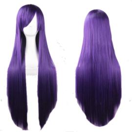 Pruik / paars lang haar  / 80 cm