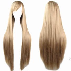 Pruik / Donker blond / 80 cm