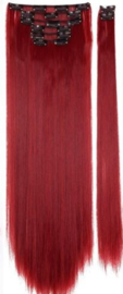 Synthetische clip in hair extensions set / Rood 130M / 60 cm