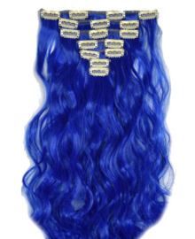 Synthetische clip in hair extension set / Donker blauw golvend / 50 cm