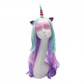 Pruik / Unicorn pastel regenboog / 70 cm eenhoorn