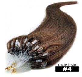 50 loop extensions / bruin / #4 / 0,5 gram / synthetisch + echt haar