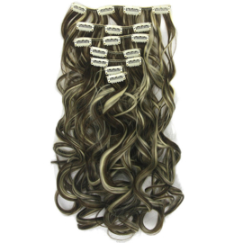 Synthetische clip in hair extension set / Golvend mixed #4/613 / 60 cm