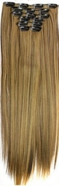 Synthetische clip in hair extension set / Mixed #4/27 / 60 cm