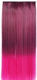 Clip in hair extension strook / Ombre zwart - hot pink / 60 cm
