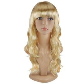 Pruik / blonde slag / 55 cm