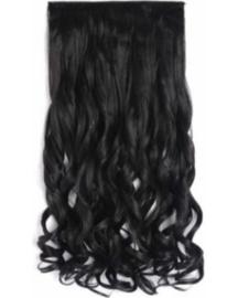 Clip in hair extensions baan / zwart 1b# golvend /  43 cm