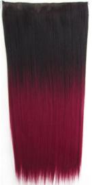 Losse clip in hair strook / Ombre - zwart rood stijl / 60 cm
