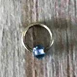 Festival haarbedels / Bevestigingsring klein + blauwe kraal 0,5 cm  / 1 stuk