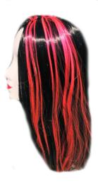 Pruik / zwart - roze strepen /  69 cm