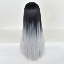 Pruik / ombre zwart - grijs / 70 cm