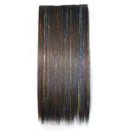 Clip in hair extensions strook / Zwart met glitters / 60 cm