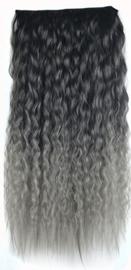 Clip in hair extensions strook / Ombre zwart 1b# - grijs  golvend /  60 cm