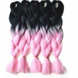 Vlecht haar / ombre zwart - licht roze / 60 cm