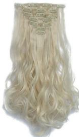 Synthetische clip in hair extension set / blond golvend #60 / 50 cm