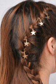 Festival haarbedels / Set: '' Golden star  / 5 stuks + 5 ringen