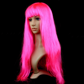 Pruik / fluor roze  / 60 cm