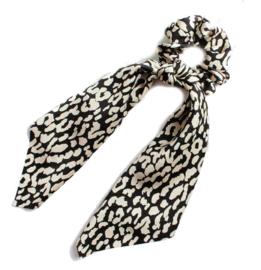 1 haarelastiek / Luipaard zwart - wit