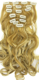 Synthetische clip in hair  extension set / blond mixed / #27/613 / 60 cm