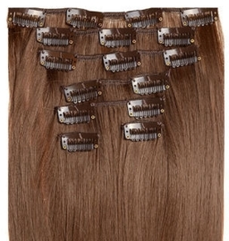 Synthetische clip in hair extension set / bruin - soft brown / #6