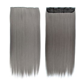 Clip in hair extensions strook / donker grijs  / 66 cm