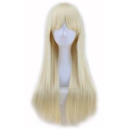 Pruik / Sunny blond met pony  / 70 cm