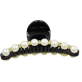 Speld / zwart met parels en steentjes