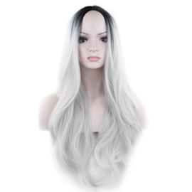Pruik / Ombre zwart - grijs wit / Snowy Winter  / 66 cm