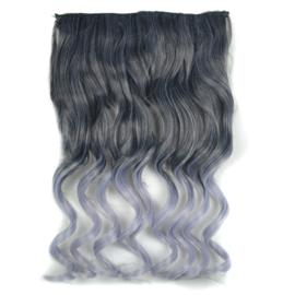 Clip in hair extension strook/ Ombre golvend zwart - grijs / 45 cm