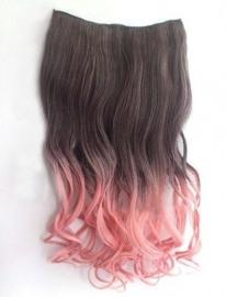 Clip in hair extension strook / Ombre golvend zwart - roze  / 65 cm