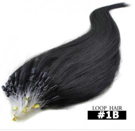 50 loop extensions / zwart / #1b / 0,5 gram / synthetisch + echt haar