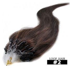 50 loop extensions / bruin / #2 / 0,5 gram /  synthetisch + echt haar