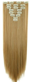 Synthetische clip in extension set / Mixed bruin en blond #27/613 / 58 cm
