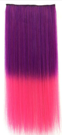 Clip in hair extensions strook / ombre paars - roze / 55 cm
