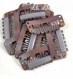 1 losse clip donker bruin / 32 mm