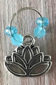 Festival haarbedels /  bedel haar Lotus bloem blauw  / 1 stuk