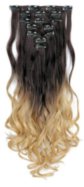 Synthetische clip in extension set / Ombre - zwart - blond  / 55 cm