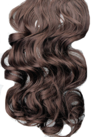 Synthetische clip in hair extensions set / Bruin  #A4 / 50 cm
