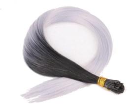 Synthetische feathers / ombre zwart - zilver grijs  / 55 cm