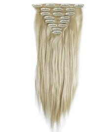 Synthetische clip in extension set / blond #613 / 58 cm