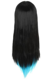 Pruik / zwart met blauw   / 65 cm