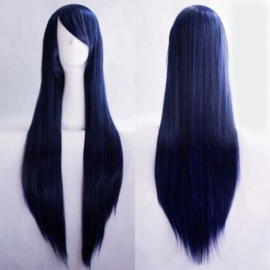 Pruik / Dark blue sky - donker blauw / 80 cm