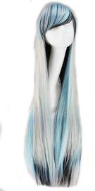 Pruik / ombre blond - groen - blauw - zwart /  100 cm