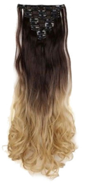 Synthetische clip in hair extension set / ombre golvend haar 4h24 / 60 cm