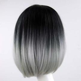 Pruik / ombre zwart - grijs boblijn / 33 cm