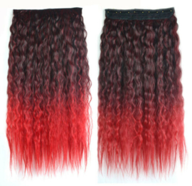 Clip in hair extensions strook / Ombre zwart 1b# - rood golvend /  60 cm