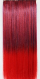 Clip in hair extension strook/ Ombre zwart-rood / 60 cm