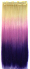 Clip in hair extensions strook / Ombre  blond - paars  / 60 cm