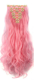 Synthetische clip in hair extensions set / roze -  sweet pink  / 60 cm